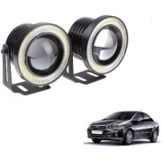 Auto Addict 3.5 High Power Led Projector Fog Light Cob with White Angel Eye Ring 15W Set of 2 For Fiat Linea