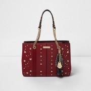 River Island Womens Red star studded chain tote bag