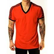 Whittall & Shon Athletic Shoulder Stripes V Neck Short Sleeved T Shirt Red/Black 168