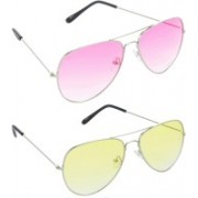 Hrinkar Aviator Sunglasses(Pink, Yellow)