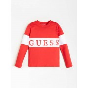 Guess T-Shirt Color Block Logo Voorkant - White - Size: 16