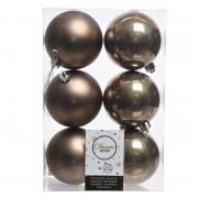 Decoris 6x Kasjmier bruin kerstballen 8 cm kunststof mat/glans