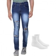 Van Galis Fashion wear Stylish Blue Jeans With Sock For Men