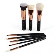 ManY Sets de brochas Black Stick Rose Gold Tube Makeup Brush Set 8 pinceles de maquillaje for mujeres niñas (Color : Negro)