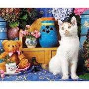 Colorluxe 500pc - Calico Cat Sitting By a Tea Set