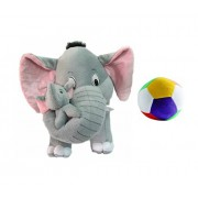 Vpra Enterprises Grey Mother Elephant With Two Baby Stuffed Soft Plush Toy Love Girl - 41 Cm, Free Little Ball