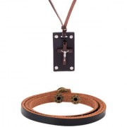 Dare by Voylla Wooden Cross Pendant and Leather Bracelet Combo