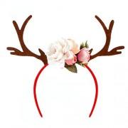 LUOEM Fawn Horn diadema aro de pelo de asta de ciervo de Navidad con flores partido de día festivo accesorio (Blanco)