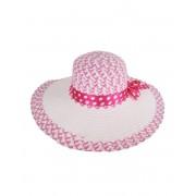 Grote witte roze zonnehoed met polkadot strik