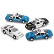 4 Pull Back Diecast Police Toy Cars High Speed Vehicle Set Toy For Kids - By Kidsco