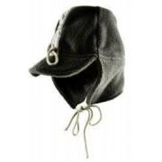 Caciula cu cozoroc si urechi pentru copii kaki material fleece moale marimea 49 1 - 3 ani