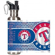 MLB Texas Rangers Water Bottle with Metallic Wrap and Pop-Up Spout Stainless Steel 26-Ounce