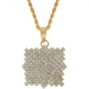 MissMister Gold plated Square shape white American Diamond chain Fashion pendant Women Stylish