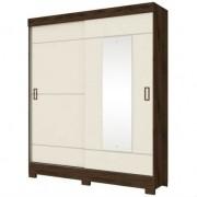 Guarda Roupa Briz 2 Portas Deslizantes 1 Espelho Café Off White