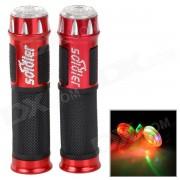 88-HG duradero de aleacion de aluminio de la manija + Funda Grip de goma w / Luz para bicicletas - Rojo + Negro (2 PCS)