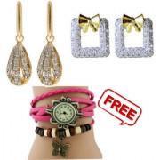 Pourni exclusive Designer American Diamond 2pcs Jhumka Earring with one freebies