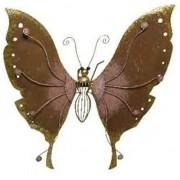 Geen Brons/roze metalen vlinder 36 cm tuin decoratie