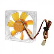 Akasa-8cm 1800RPM ventilador silencioso de la computadora - transparente + amarillo