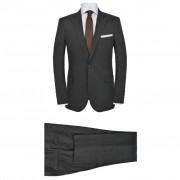 vidaXL Pánský dvoudílný oblek vel. 52, lněný, tmavě šedý