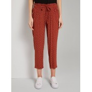 TOM TAILOR Loose fit broek met elastische tailleband, brown geometric design, 38