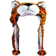 Soft Faux Fur Plush Stuffed Cute Tiger Animal Costume Cap with Toy Hood for Boys and Girls (Brown Free Size)