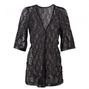 Plus Size GEO Print Sheer Robe Sexy Lingerie - Black