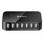 USB хъб D-Link DUB-H7/E със захранване, 7-порта, USB 2.0, Черен