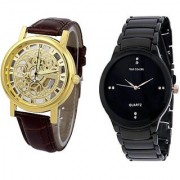 IIK Black With Golden open Dile Analog Watch