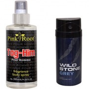 Wild Stone Forest Grey Body Deodorant 150ml and Pink Root Tag-Him Pour Homme Fragrance body Spray 200ml Pack of 2