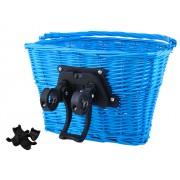 Cos pentru bicicleta portabil cu maner, model impletit cu montare pe ghidoane, Culoare Albastru
