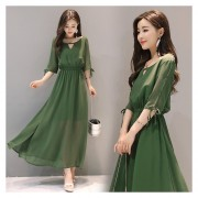 Vestido de Oficina E-Thinker Larga De Hombro Y Con Cuchilladas - Verde