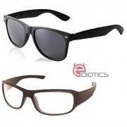 Ediotics Classic Black Wayfarer Transparent Night Driving Sunglasses