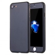 2 in 1 for iPhone 7 360 Degrees Full Coverage Protection Hard PC Protective Case + Tempered Glass Screen Film(Black)