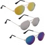Phenomenal Oval Sunglasses(Yellow, Silver, Blue)