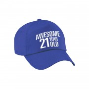 Bellatio Decorations Awesome 21 year old verjaardag pet / cap blauw voor dames en heren