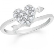 VK Jewels Arrow in Heart Rhodium Plated Alloy Ring for Women & Girls Made With Cubic Zirconia- FR2281R [VKFR2281R8]