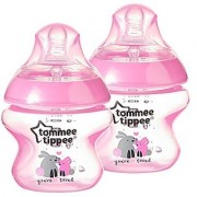 Tommee Tippee Closer to Nature Decorated Bottle Pink 5 Ounce (Pack of 2)