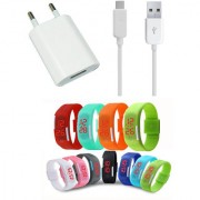 USB Travel Charger and Waterproof Digital LED Watch Combo for Lenovo A2010