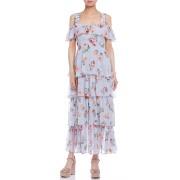 【70%OFF】Coco フラワー バックルストラップ ティアード ドレス ライトブルーフローラル 0 ファッション > レディースウエア~~ワンピース