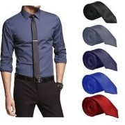 Set of 5 Slim Satin Tie for Men - Formal Party Wear Birthday Gifts.(Colour Black Grey Navy Blue Royal Blue Red)