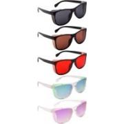 NuVew Wayfarer, Shield Sunglasses(Black, Brown, Red, Green, Blue, Violet)