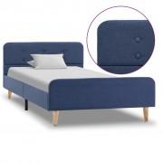 vidaXL Рамка за легло, синя, плат, 90x200 см