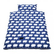 Babybeddengoed Happy Sheep (2-delig) - overtrek en kussensloop - blauw, Pinolino
