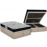 Conjunto Cama Box Baú - Colchão Probel de Espuma D45 ProDormir Advanced Plus + Cama Box Baú Nobuck Bege - Conjunto Box Casal - 138 x 188