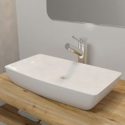 vidaXL Luxury Ceramic Basin Rectangular Sink White 71 x 39 cm