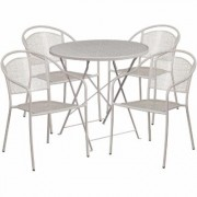 Flash Furniture 30Inch Round Metal Folding Patio Table Set with 4 Round Back Chairs - Light Gray, Model CO30RDF03CHR4SV