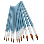 ELECTROPRIME 12Pcs Tip Artist Paint Brush Painting Brushes for Oil Watercolor 18.6-23cm