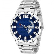 Svviss Bells Original Blue Dial Silver Steel Chain Day and Date Multifunction Chronograph Wrist Watch for Men - SB-1026