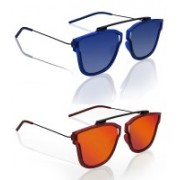 Knotyy Retro Square Sunglasses(Blue, Orange)