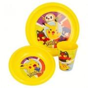 Pokémon, 3 delar i plast med tallrik, glas och skål